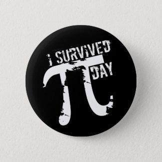 I Survived Pi Day - Funky Pi Symbol - Funny Pi Day 6 Cm Round Badge