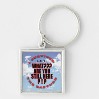 """""""I survived...rapture"""" Silver-Colored Square Key Ring"""