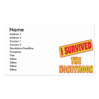 I SURVIVED THE HONEYMOON BUSINESS CARD TEMPLATE