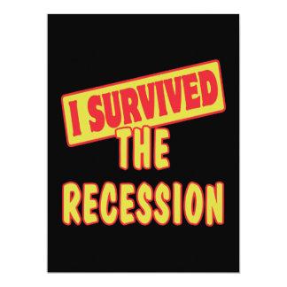 I SURVIVED THE RECESSION 17 CM X 22 CM INVITATION CARD