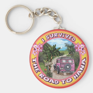 I survived the Road to Hana Basic Round Button Key Ring