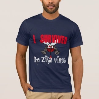 """I survived  the Zika virus"" with mosquito T-Shirt"