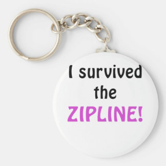 I Survived the Zipline Basic Round Button Key Ring