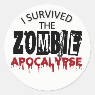 I survived the Zombie Apocalypse Round Sticker