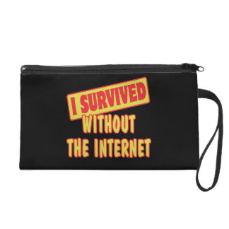 I SURVIVED WITHOUT THE INTERNET WRISTLET CLUTCH