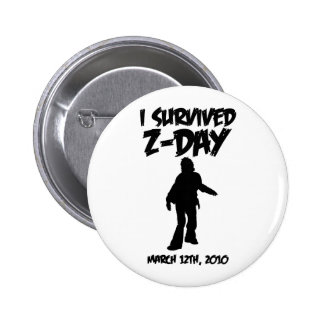 I Survived Z-Day 2 1 4 Button Black-on-White