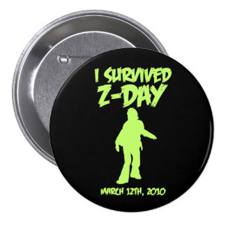 I Survived Z-Day 3 Button Green-on-Black