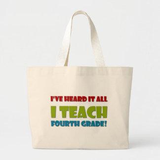 I Teach Fourth Grade Jumbo Tote Bag