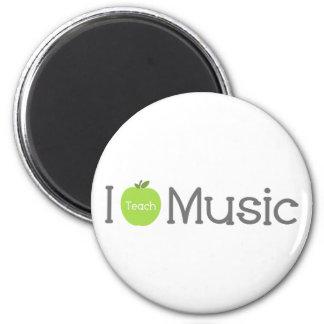I Teach Music Green Apple 6 Cm Round Magnet