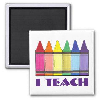 I Teach Rainbow Crayons School Teacher Gift Magnet
