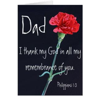 I thank my God dad bible verse Philippians 1:3 Card