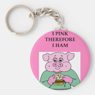 i think therefore i am ham joke basic round button key ring