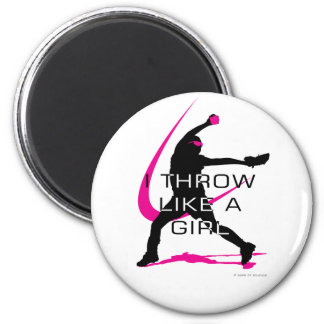 I Throw like a Girl Pink Softball 6 Cm Round Magnet