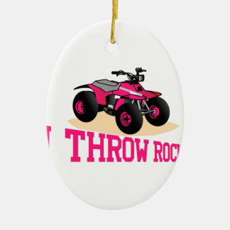 I Throw Rocks Ceramic Ornament