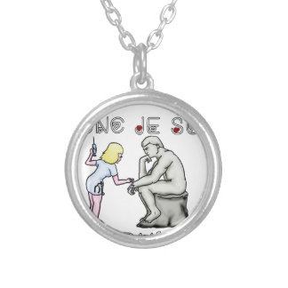 I thus bandage I am (Nurse) - Word games Silver Plated Necklace