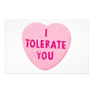 I Tolerate You Valentine's Day Heart Candy Customised Stationery