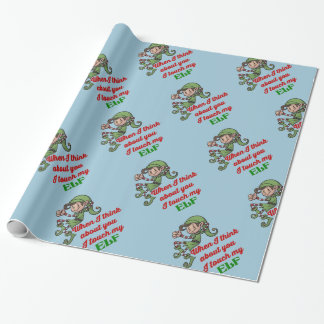 I Touch My Elf Christmas Humour Wrapping Paper