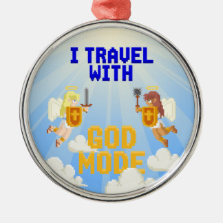 I Travel With God Mode Silver-Colored Round Decoration