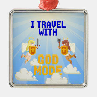I Travel With God Mode Silver-Colored Square Decoration
