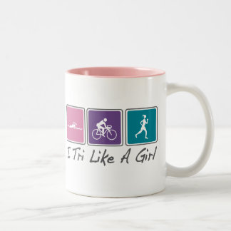 i tri like a girl (Triathlete) Two-Tone Coffee Mug