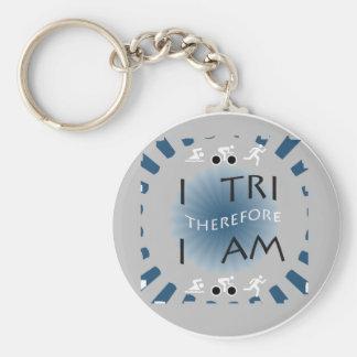I Tri Therefore I am Triathlon Key Ring