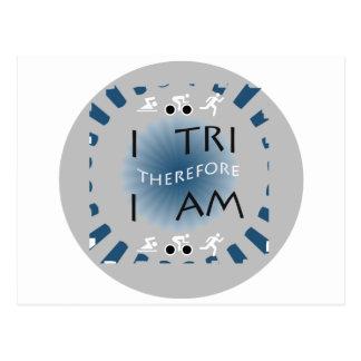 I Tri Therefore I am Triathlon Postcard