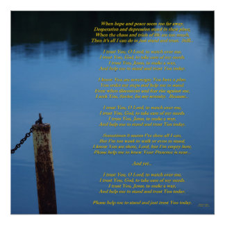 I Trust You Today--Christian Lyric Poem on Image Poster