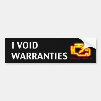 I Void Warranties Car Bumper Sticker