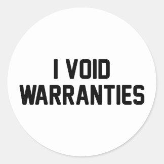 I Void Warranties Classic Round Sticker