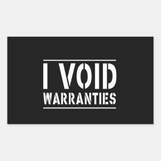 I Void Warranties Rectangular Sticker