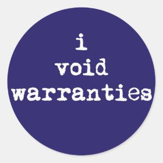 I Void Warranties Round Stickers
