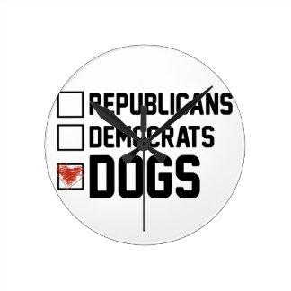 I Vote Dogs Round Clock