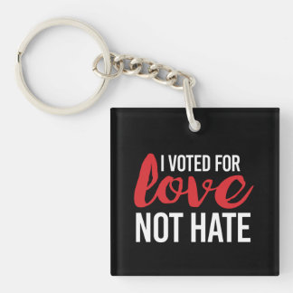 I voted for Love Not Hate - - white - Key Ring
