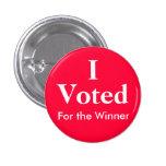 I Voted For the Winner 3 Cm Round Badge