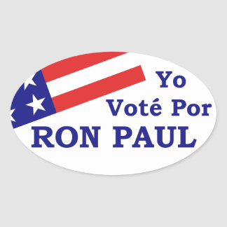 I Voted Ron Paul Oval Sticker Spanish (4 stickers)