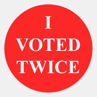 I Voted Twice Classic Round Sticker