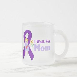 I Walk For Mom Alzheimer's Gift Frosted Glass Coffee Mug