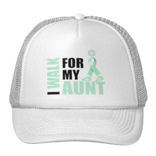 I Walk for my Aunt teal Mesh Hat