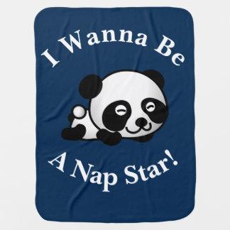 I Wanna Be a Nap Star Sleepytime Panda Bear Design Baby Blanket