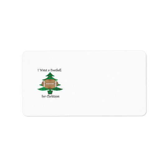 I want a football for Christmas Address Label
