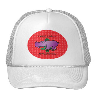 I want a hippo for christmas red christmas trees trucker hat