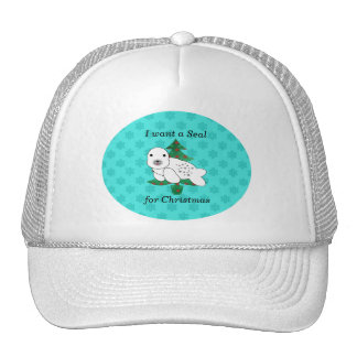 I want a seal for christmas trucker hat
