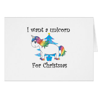 I want a unicorn for Christmas blue christmas tree Card