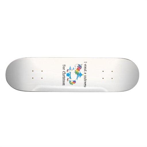 I want a unicorn for Christmas blue christmas tree Skate Board Deck