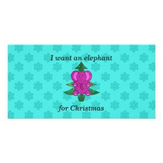 I want an elephant for christmas purple glitter photo card template