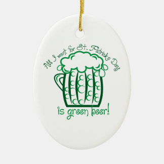 I Want Beer Ceramic Oval Decoration