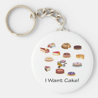 I Want Cake! Basic Round Button Key Ring