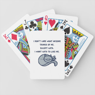 I want Cats to Like Me Bicycle Playing Cards