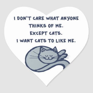 I want Cats to Like Me Heart Sticker