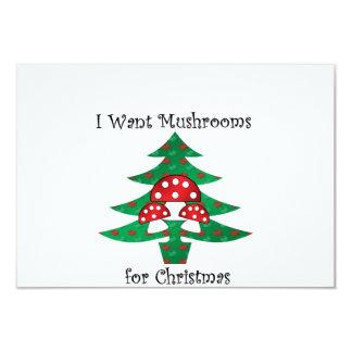 I want mushrooms for christmas 9 cm x 13 cm invitation card